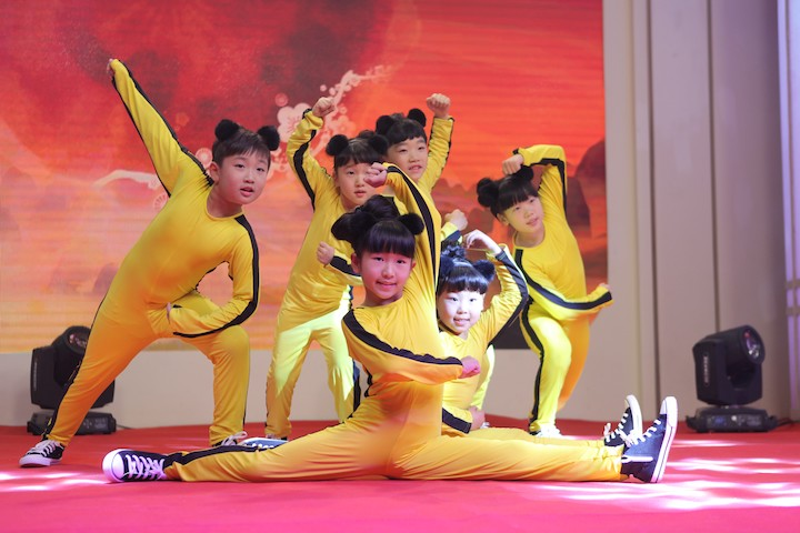 """The launch event starting with a show performed by cute """"Kung Fu kids"""""""