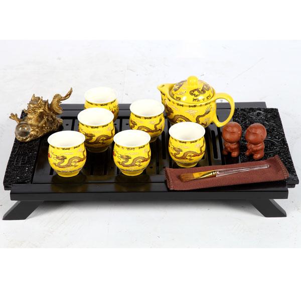 皇帝龙茶具+祥龙实木茶盘组合